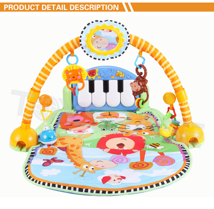 Multifunctional Children Care Playmat Cheap Safety Animal Piano Kick Activity Gym Baby Play Mat