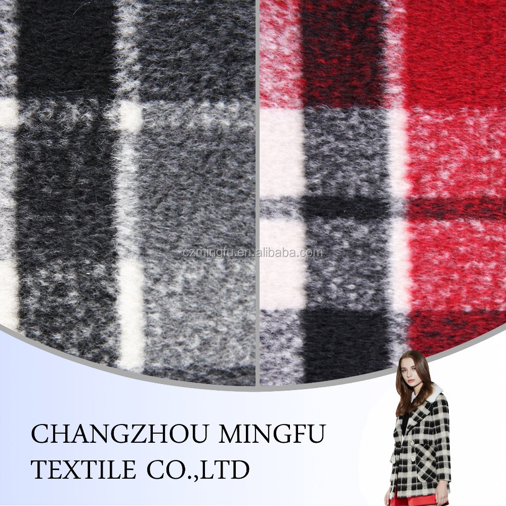 black /red/grey check woolen cloth fabric, wool acrylic blend fabric for school uniform, women suit, coats