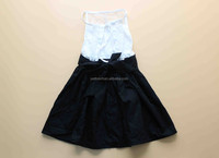 Hottest wholesale girls 2 pieces frocks smocked baby christening dress black and white suits clothes backless girls clothing