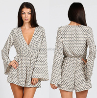 women ladies BAKIT PRINT SURPLICE CLEAVAGE NECKLINE CHIFFON BELL SLEEVE ROMPERS
