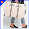 Deluxe leather trimmed fiberboard travel trolley carry-on luggage for flights with satchel handle