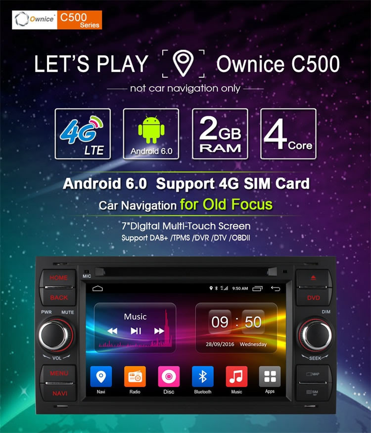 Ownice C500 4 Core Android 6.0 2G ram 16G ROM Auto GPS navi for Ford Fusion 2006 - 2011 Support OBD BAD TPMS 4G