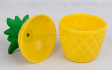 250ML Plastic pineapple cup with straw yellow color
