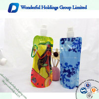 2016 Hot Sale Travel Plastic Drinking Water Bags Drink Pouch with Spout Stand up Bag with Nozzle for Juice Clear Plastic Pouch