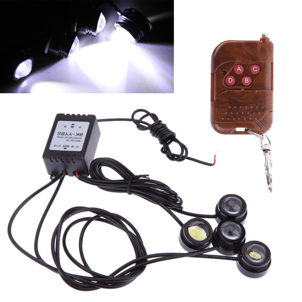 4pcs 3W IP68 Strobe Flash LED DRL Eagle Eye Light Night Rider Scanner Lighting Car Parking lamp bulb Running light