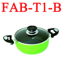Factory directly supply aluminum shallow casserole with two ears Eco-friendly non-stick Kitchen pot with glass lid