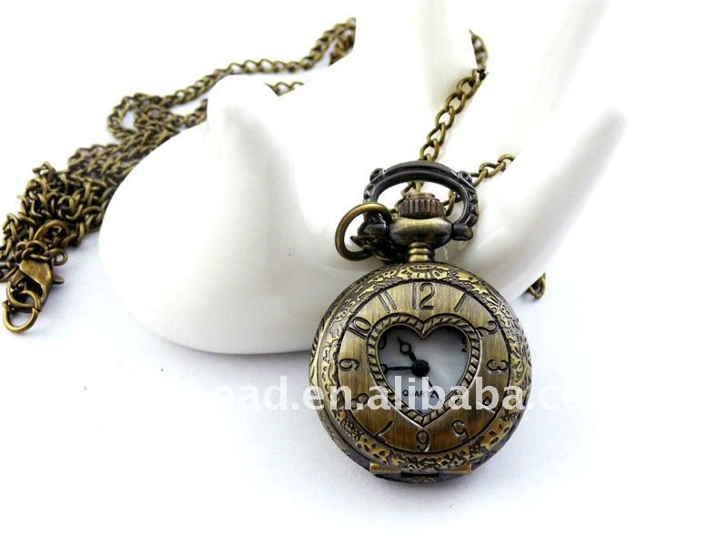 W143 wholesale Antique brass bronze pocket watch chain charm pendant watch necklace nickel free lead free