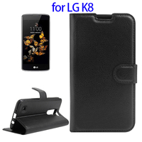 Litchi Texture Horizontal Flip Leather Case for LG K8, Cover for LG K8 with Card Slots