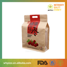 Biodegradable Side gusset brown kraft paper bags with window and zipper for food