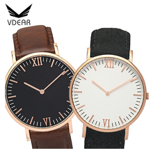 Stainless steel watch case with leather handle 2035 movement watch men quartz watch