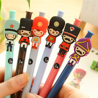 wholesale stationery plastic cartoon charactor personal design rainbow color gel ink pen