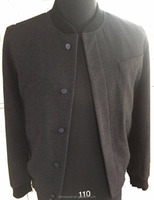 Men's casual wool coat with rib and slanted pocket
