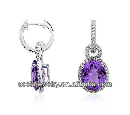 Hot Supply 9ct White Gold Hanging Amethyst Earring