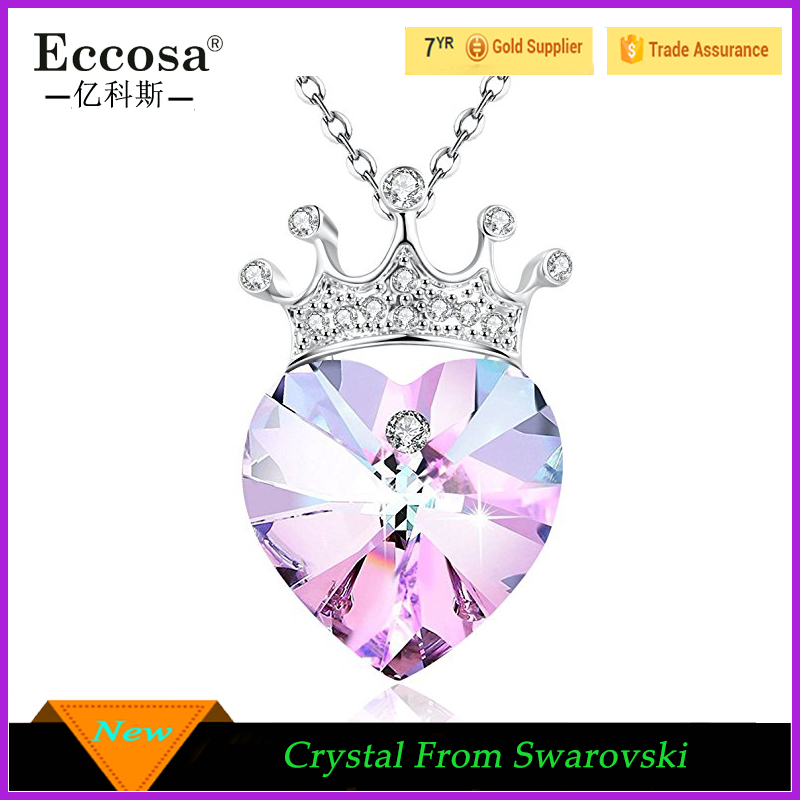 Princess Crown Purple Love Heart Pendant Necklace for Girlfriend Love Wife Crystal from Swarovski