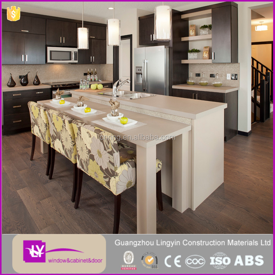 Lingyin furnitures modern design customized wooden kitchen cabinets in high quality.
