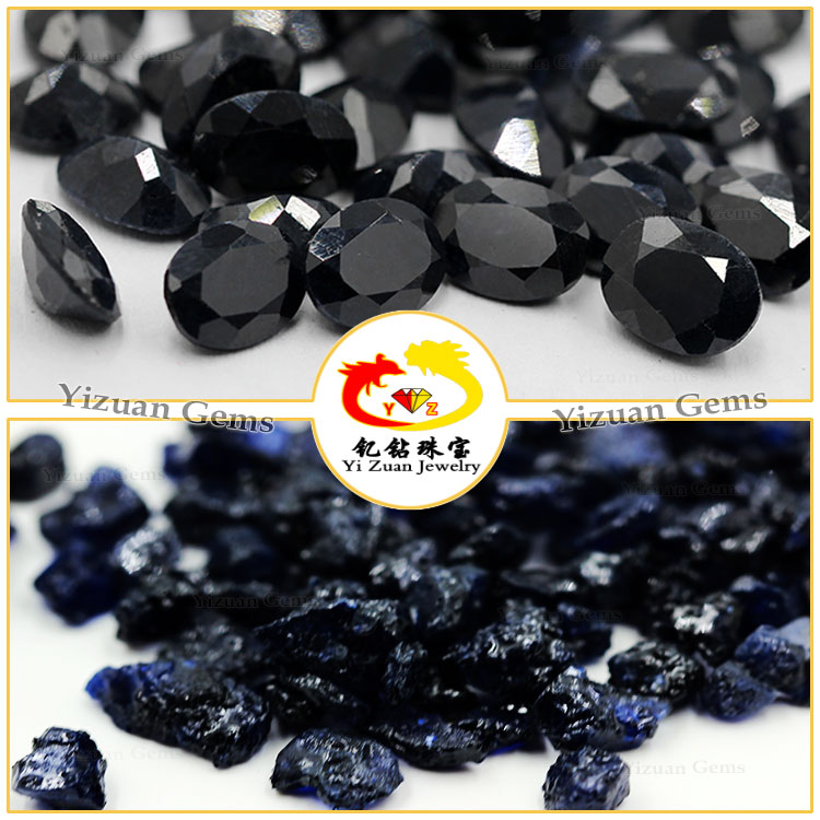 Hot sale Oval step cut Natural black Sapphire gemstone loose sapphire stone