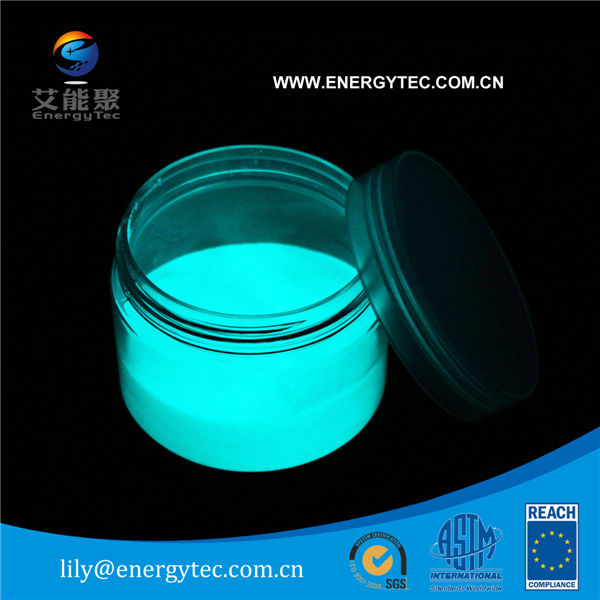 Glow in the dark powder aqua color