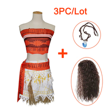 Girls Cosplay Costumes Dresses For Girls Brand Dresses+Necklace+Wig 3pcs Kids Girl Party Halloween Christmas Moana Dress