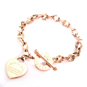Women Rose Gold Charm Stainless Steel Crystal Jewelry Bracelet Heart Lock And Key