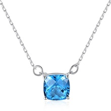 CZCITY High Quality Blue Topaz Pendant <strong>Necklace</strong> Jewelry Fashion Jewelry 925 Sterling Silver <strong>Necklace</strong>
