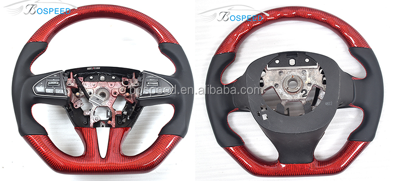 RED Carbon Fiber Steering Wheel For INFINITI Q50 with NON-Perforated Leather