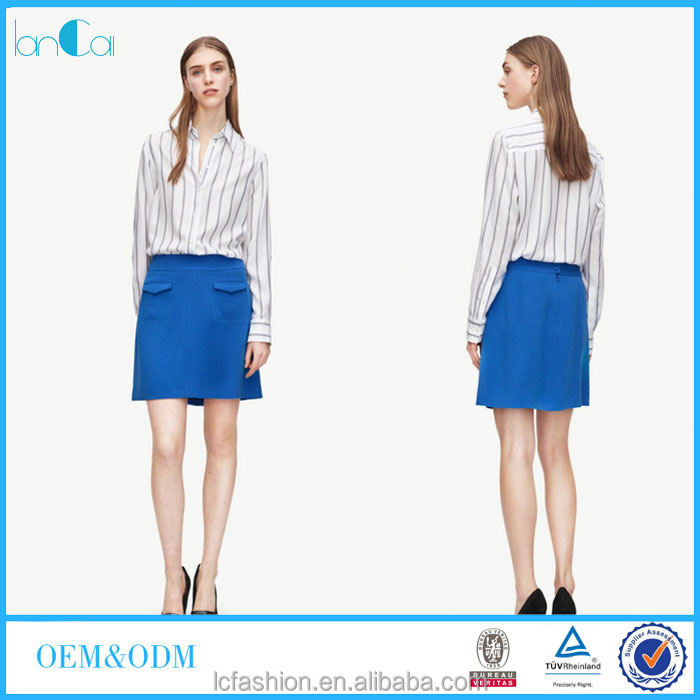 Fashion clothing model of office lady simple stripe design formal blouse
