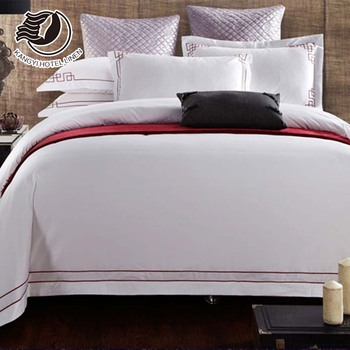 Fashionable Embroidery Patterns White 5 Star Hotel Linen Duvet Cover Set With Customized Logo