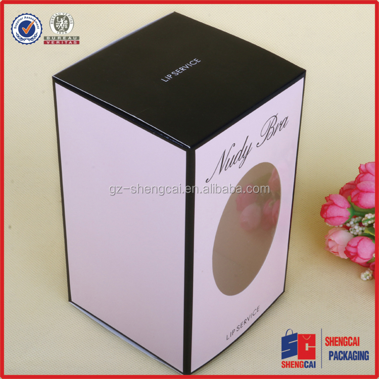 see through custom logo printing window paper boxes for bodycare bra