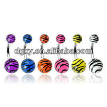 Fancy Black and White Zebra Animal Print Navel Belly Ring Body Piercing Jewelry