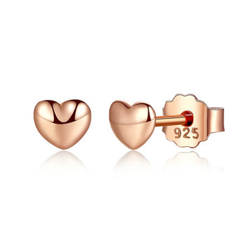 New Trendy Small 925 Silver Stud Rose Gold Plated Hearts Shape Earrings