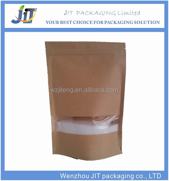 customized printing ziplock stand up kraft paper bag with window