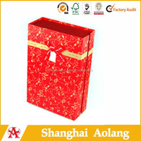 China red floral design paper gift bag for luxury wine pack China wholesale