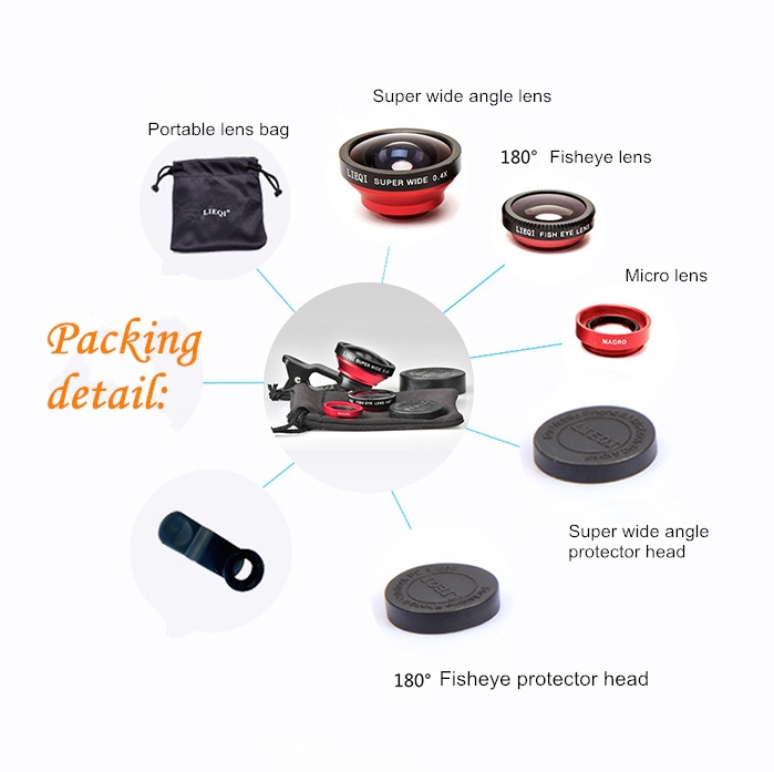 3 in 1 Clip-On 180 Degree Supreme Fisheye II +0.65x Wide Angle II + Macro Lens Camera Photo Kit camera lens for galaxy note 2