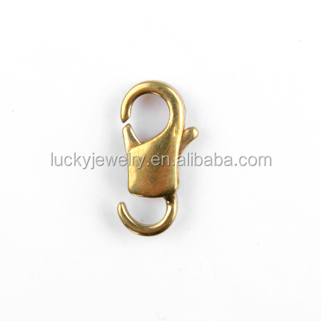 wholesale super quality jewelry parts hypoallergenic 14k gold plated brass metal lobster claw clasps for bracelet