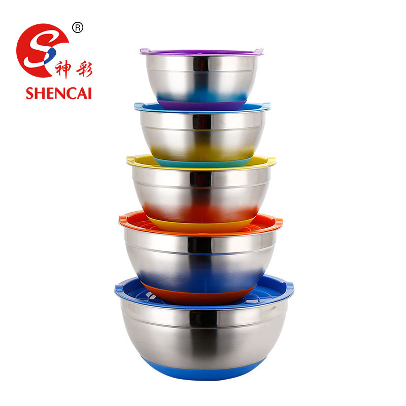 Non-slip Stainless steel mixing bowl / salad bowl set with silicone bottom