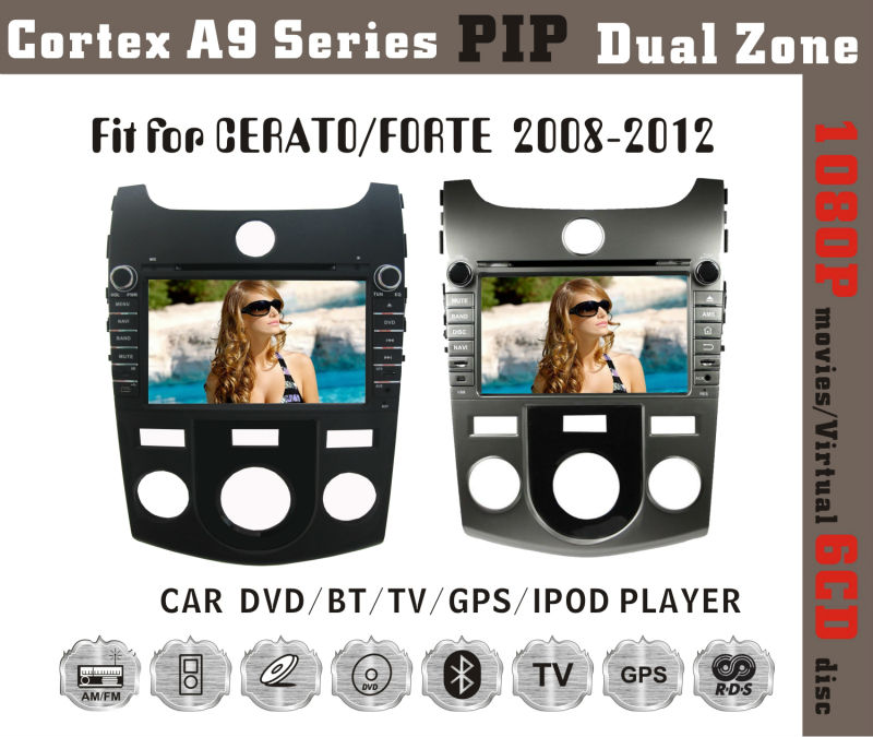 8inch HD 1080P BT TV GPS IPOD Fit for kia cerato/forte 2008-2011 car dvd player with gps
