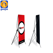 Portable x banner display, retractable x frame banner