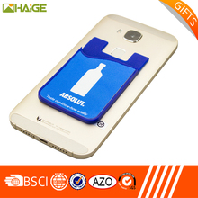 2017 hot selling customized logo printing promotional silicone mobile phone card holder