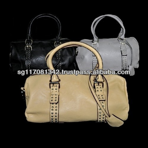 Fashion Classic Silver Studs Leatherette Tote Satchel Bag
