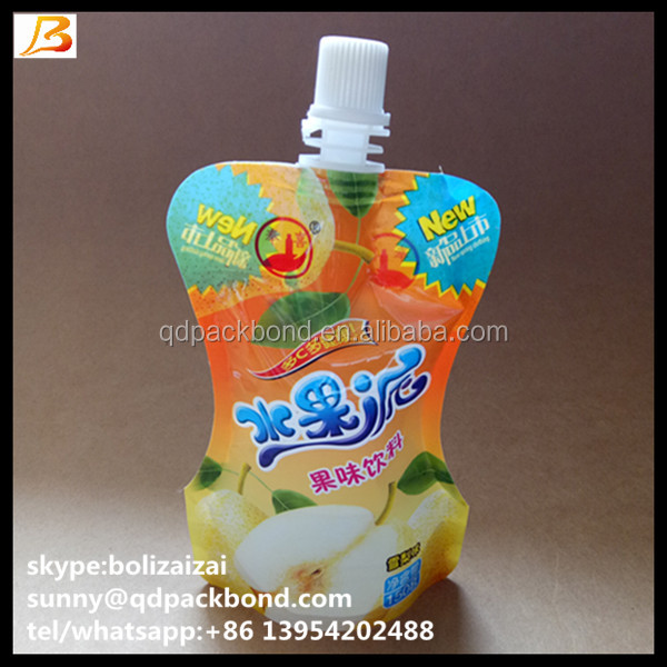 High Quality Laminated Plastic Bag Drinks / Soft Drinks Plastic Bag with spout bpa free