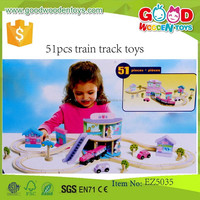 Child Educational Wooden Track Toys Funny Vehicle Train Sets 51pcs Train Track Toys