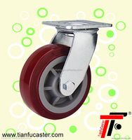 Red PU heavy duty caster wheel,galvanized caster