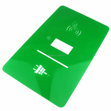 Green colored rectangle 3mm door card use electric glass panel