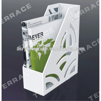white v shape desktop acrylic magazine rack