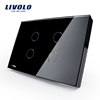 Livolo US Standard Electric Switch Black Crystal Glass Panel Touch Sensor Wall Light Switch VL-C304-82 with LED Indicator