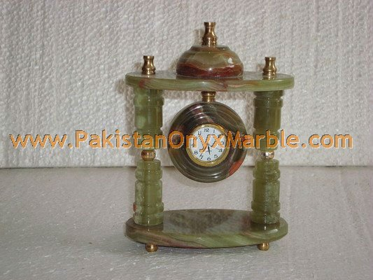 DECORATIVE MULTI GREEN ONYX TABLE CLOCKS