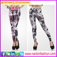 Fashion two styles newspaper design tight leggings for women