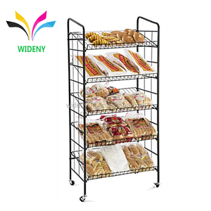Floor standing supermarket store retail 5 tiers metal wire iron bread Candy Potato chips cardboard display rack