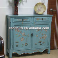 CF30124 Painted Two Door Console in Blue / French-style Cupboard Console Sideboard