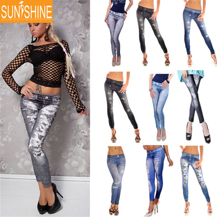 2017 Fashion Jeans Look Slimming Jeggings USA Sexy Ladies Leggings Sex Photo Women Jeans